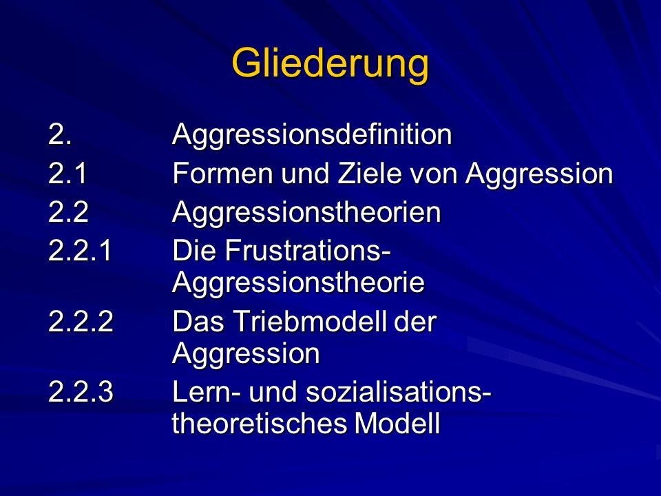 Gliederung 2. Aggressionsdefinition