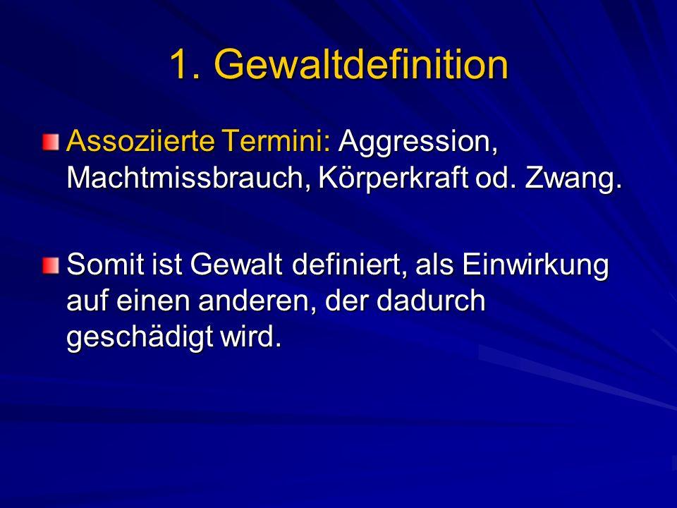 1. Gewaltdefinition Assoziierte Termini: Aggression, Machtmissbrauch, Körperkraft od. Zwang.
