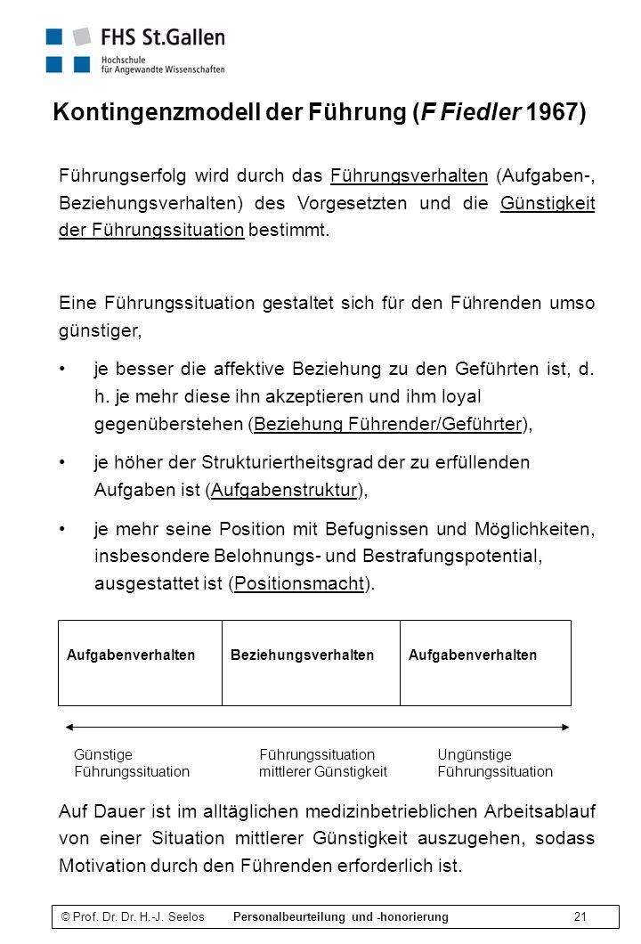 Kontingenzmodell der Führung (F Fiedler 1967)