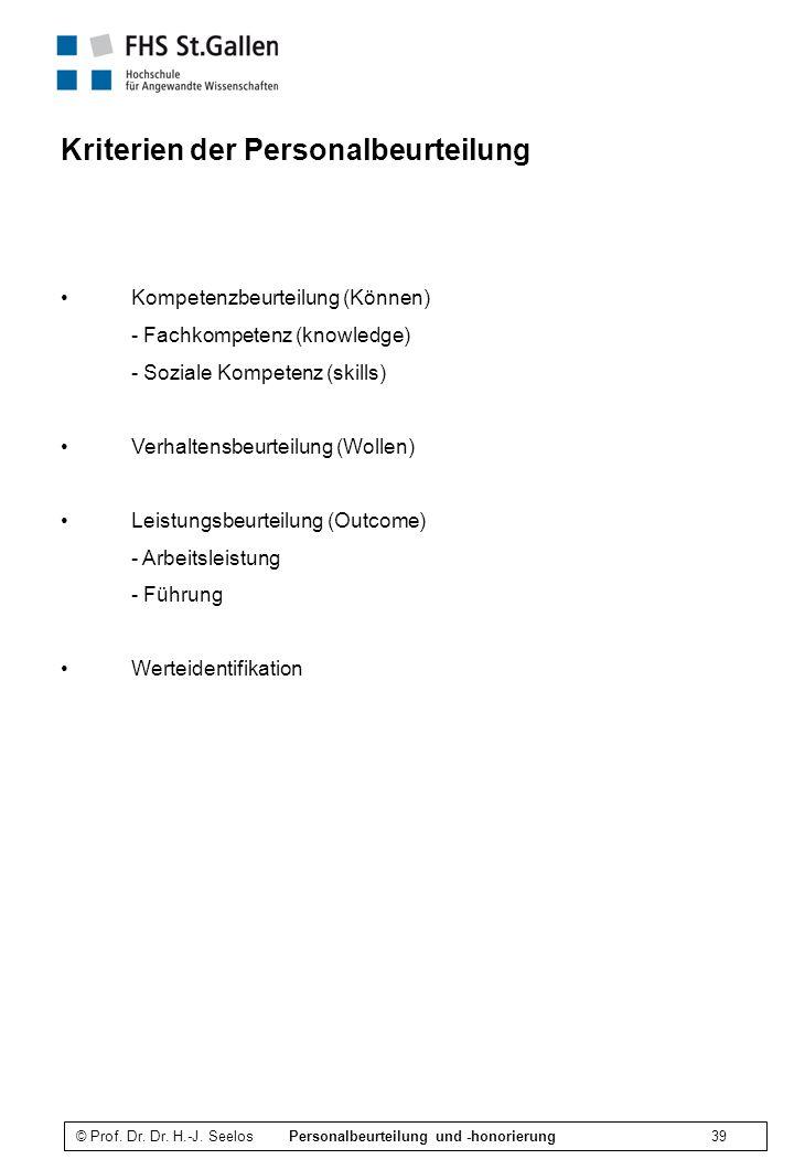 Kriterien der Personalbeurteilung