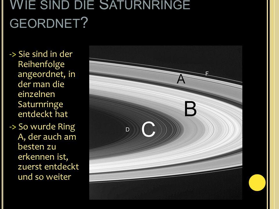 Wie sind die Saturnringe geordnet