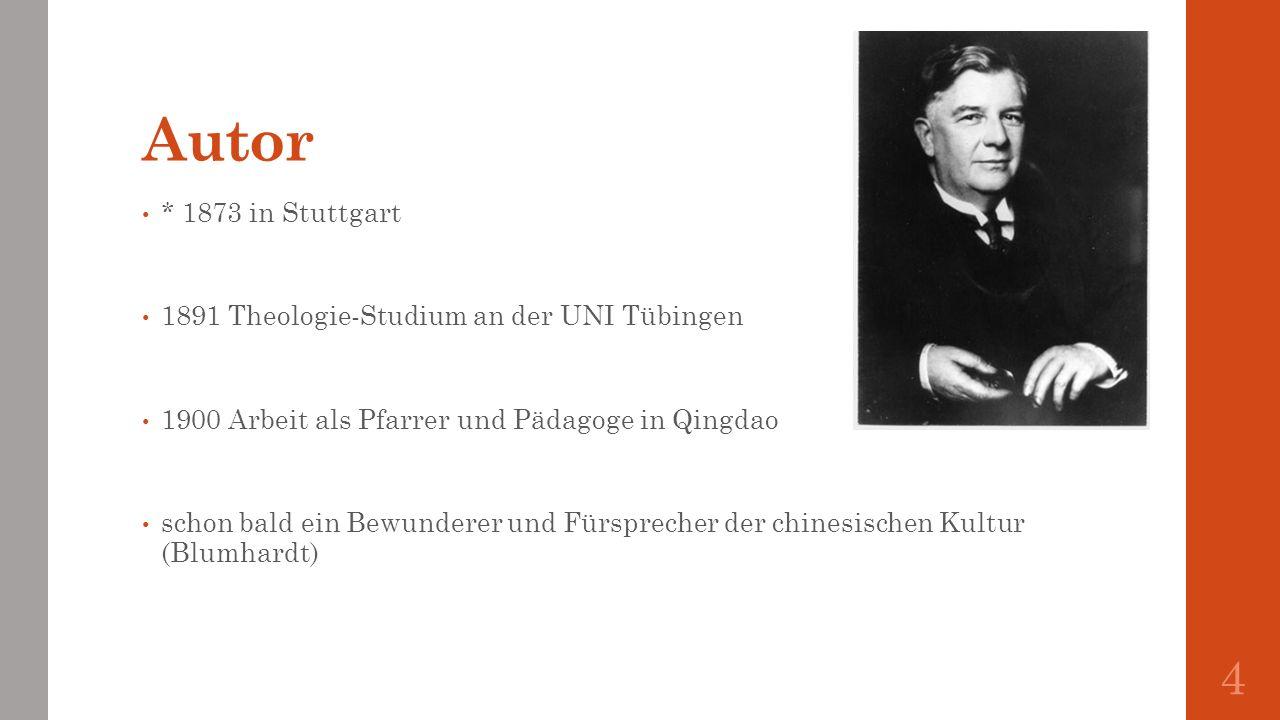 Autor * 1873 in Stuttgart 1891 Theologie-Studium an der UNI Tübingen