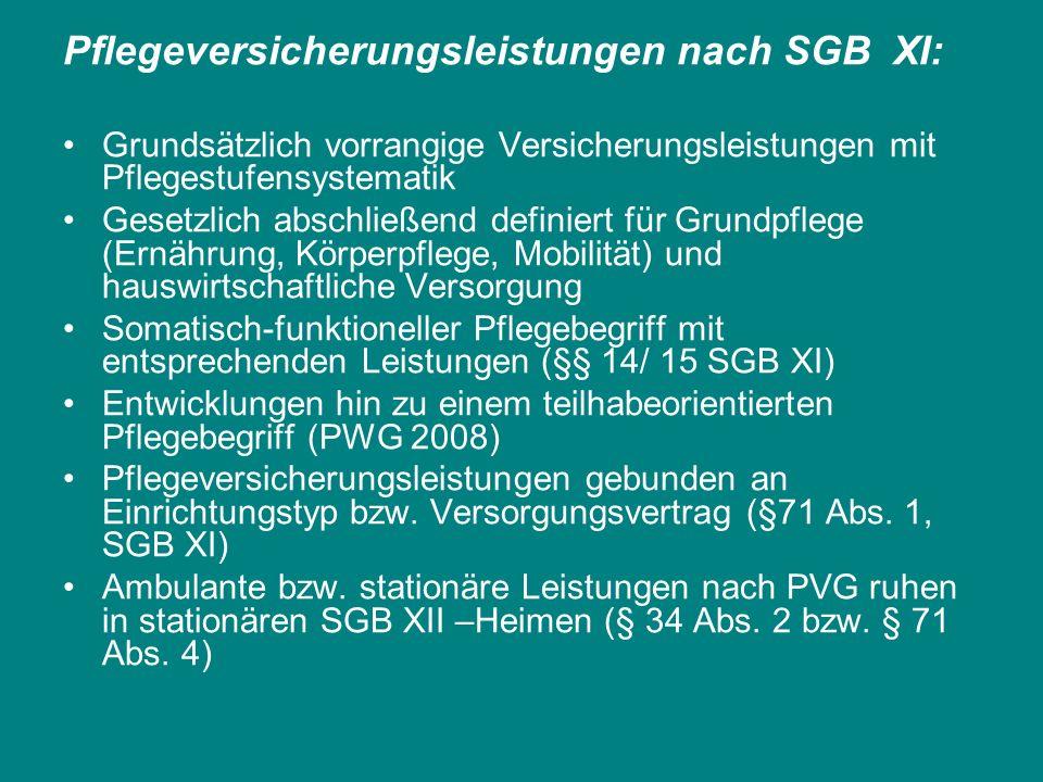 Pflegeversicherungsleistungen nach SGB XI: