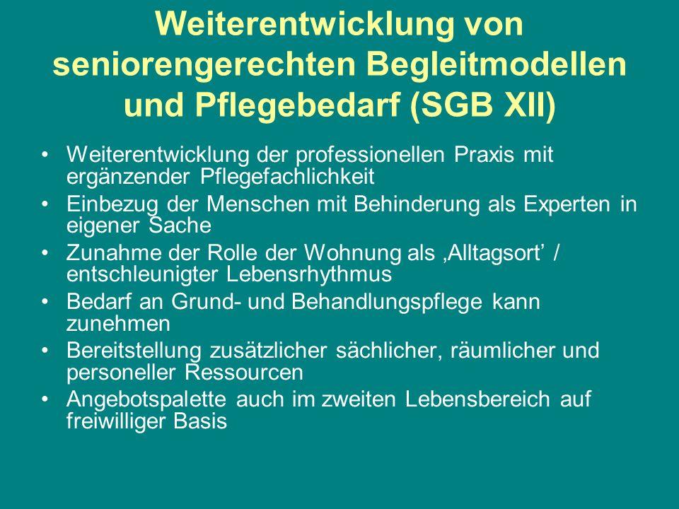Weiterentwicklung von seniorengerechten Begleitmodellen und Pflegebedarf (SGB XII)