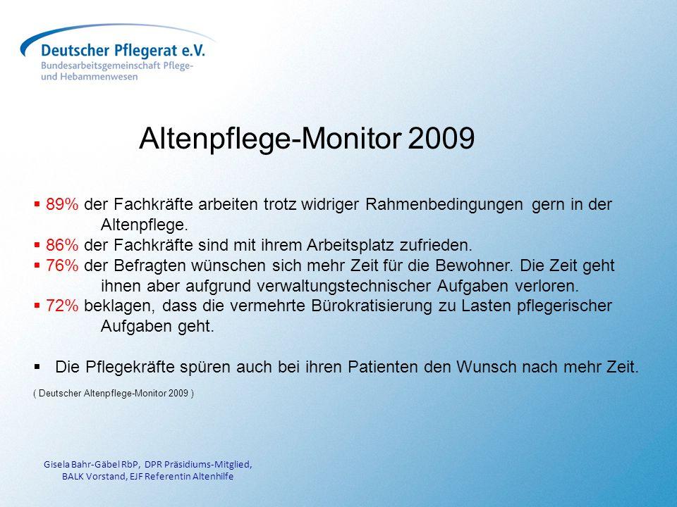 Altenpflege-Monitor 2009 89% der Fachkräfte arbeiten trotz widriger Rahmenbedingungen gern in der Altenpflege.