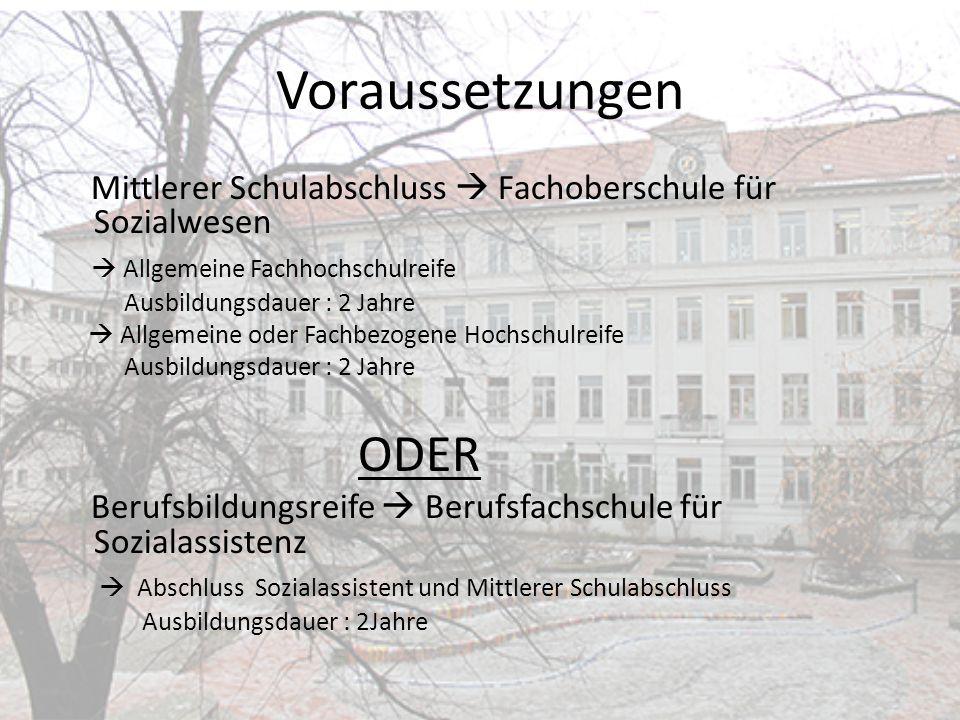 Voraussetzungen Mittlerer Schulabschluss  Fachoberschule für Sozialwesen.  Allgemeine Fachhochschulreife.
