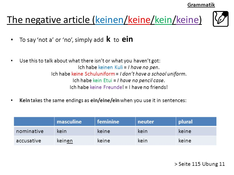 The negative article (keinen/keine/kein/keine)