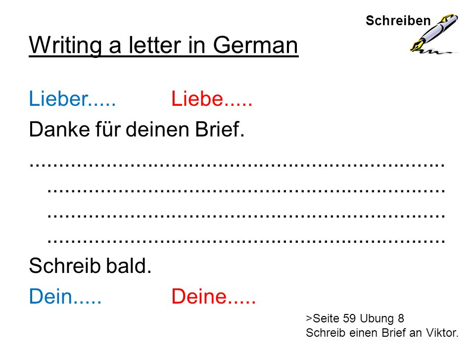 Writing a letter in German