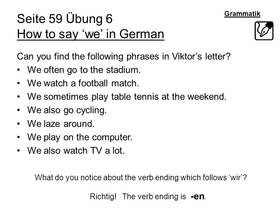 Seite 59 Übung 6 How to say 'we' in German