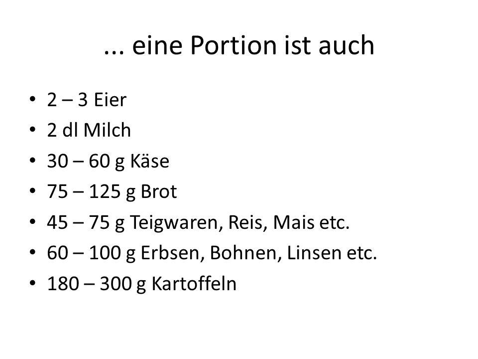 ... eine Portion ist auch 2 – 3 Eier 2 dl Milch 30 – 60 g Käse