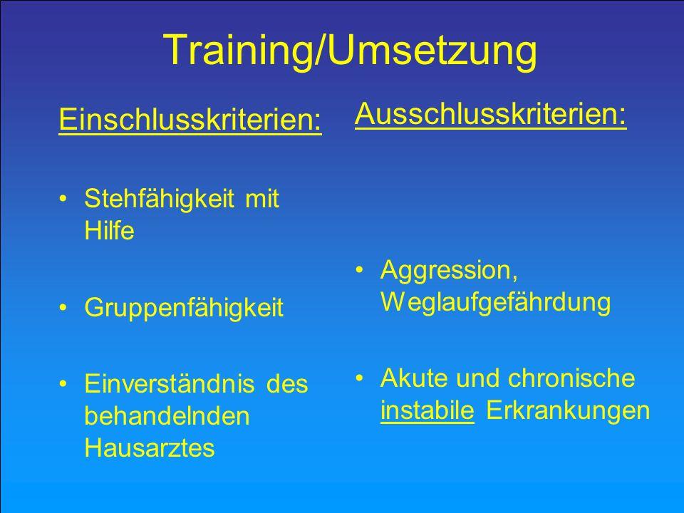 Training/Umsetzung Ausschlusskriterien: Einschlusskriterien: