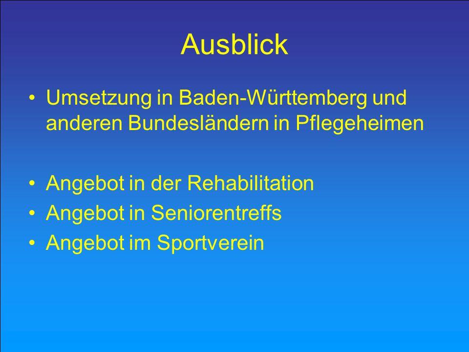 Ausblick Umsetzung in Baden-Württemberg und anderen Bundesländern in Pflegeheimen. Angebot in der Rehabilitation.