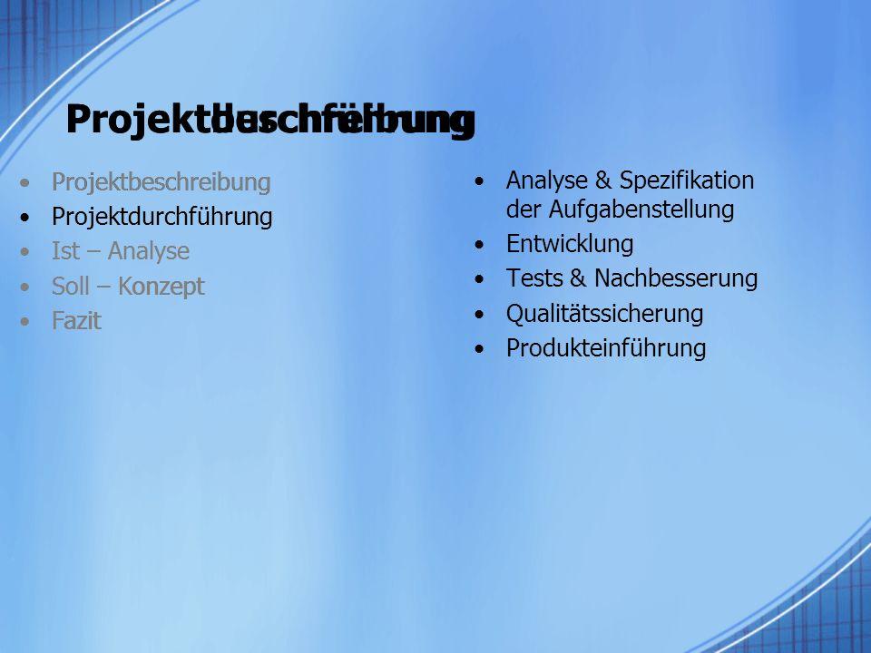 Projektbeschreibung Projektdurchführung Projektbeschreibung
