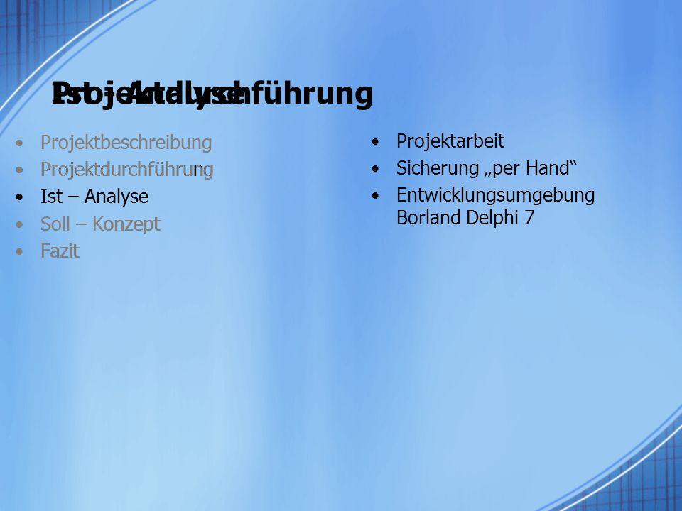 Projektdurchführung Ist - Analyse Projektbeschreibung