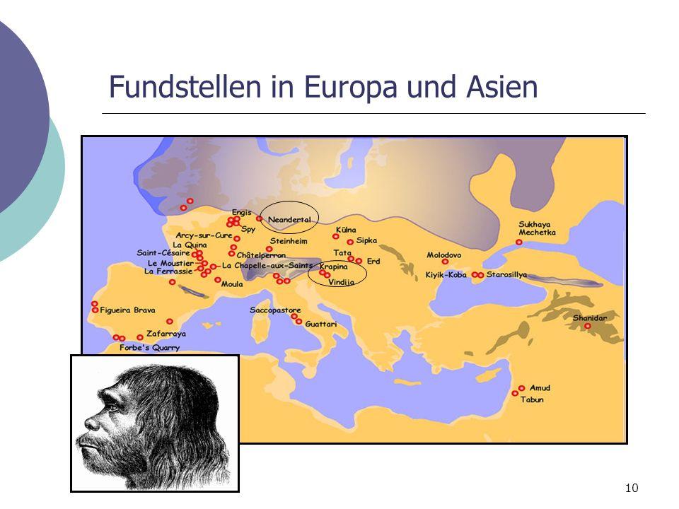 Fundstellen in Europa und Asien