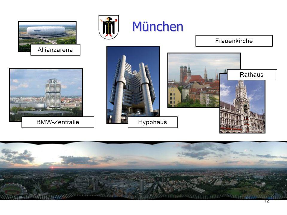 München Frauenkirche Allianzarena Rathaus BMW-Zentralle Hypohaus