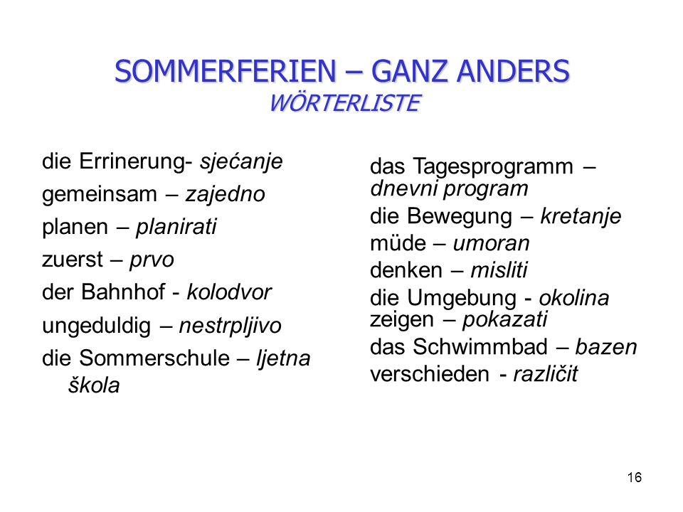SOMMERFERIEN – GANZ ANDERS WÖRTERLISTE