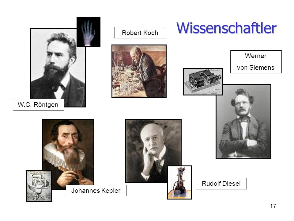Wissenschaftler Robert Koch Werner von Siemens W.C. Röntgen