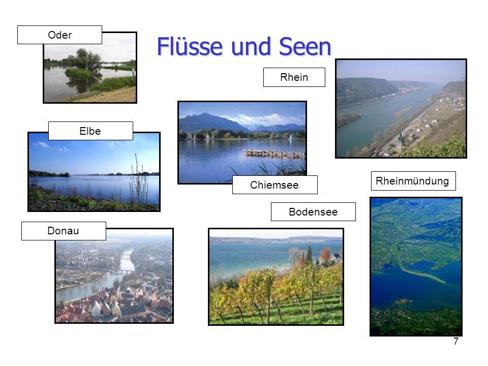 Flüsse und Seen Oder Rhein Elbe Rheinmündung Chiemsee Bodensee Donau