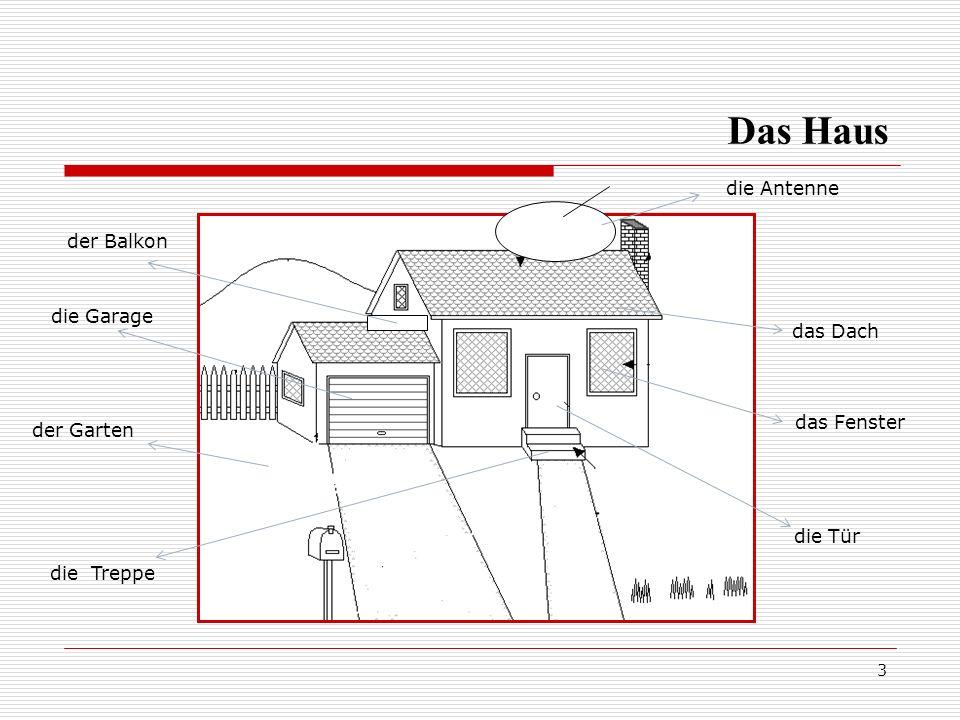 Das Haus die Antenne der Balkon die Garage das Dach das Fenster