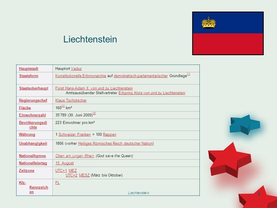 Liechtenstein Hauptstadt Hauptort Vaduz Staatsform