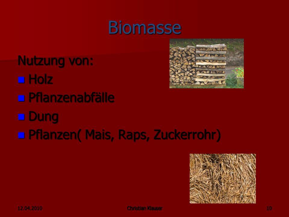 Biomasse Nutzung von: Holz Pflanzenabfälle Dung