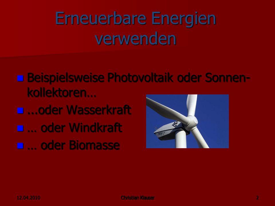 Erneuerbare Energien verwenden