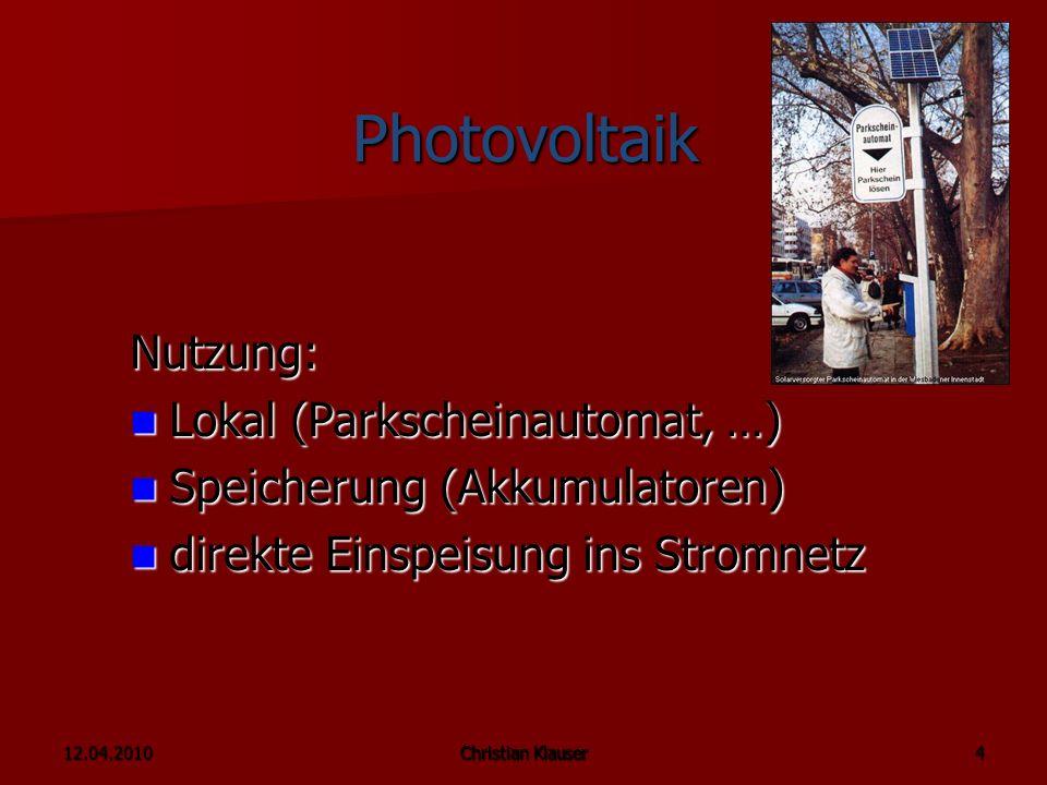 Photovoltaik Nutzung: Lokal (Parkscheinautomat, …)