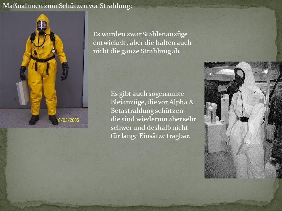 Maßnahmen zum Schützen vor Strahlung: