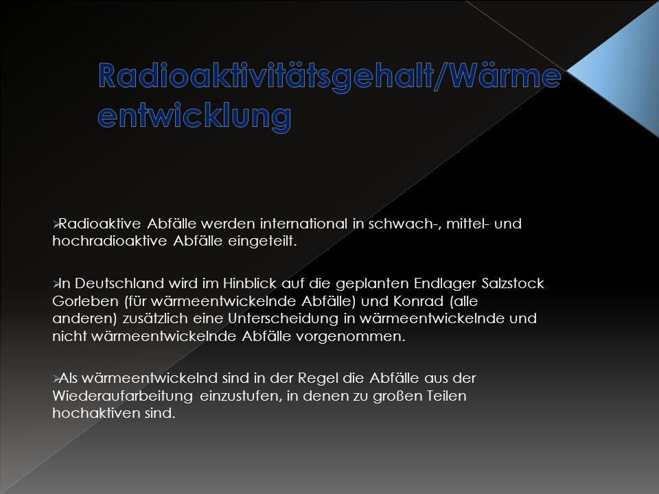 Radioaktivitätsgehalt/Wärmeentwicklung
