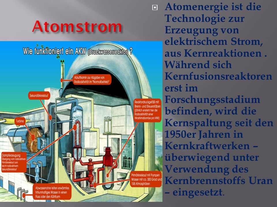 Atomenergie ist die Technologie zur Erzeugung von elektrischem Strom, aus Kernreaktionen . Während sich Kernfusionsreaktoren erst im Forschungsstadium befinden, wird die Kernspaltung seit den 1950er Jahren in Kernkraftwerken – überwiegend unter Verwendung des Kernbrennstoffs Uran – eingesetzt.