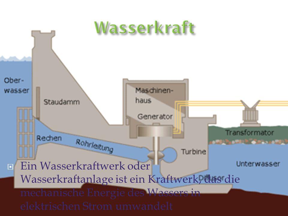 Wasserkraft Ein Wasserkraftwerk oder Wasserkraftanlage ist ein Kraftwerk, das die mechanische Energie des Wassers in elektrischen Strom umwandelt.