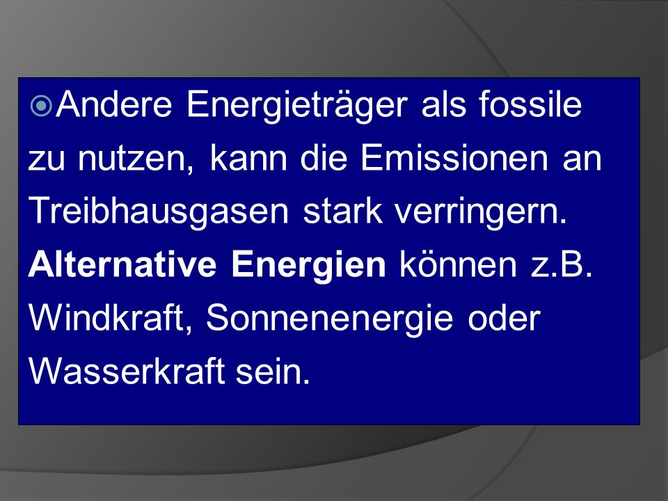 Andere Energieträger als fossile