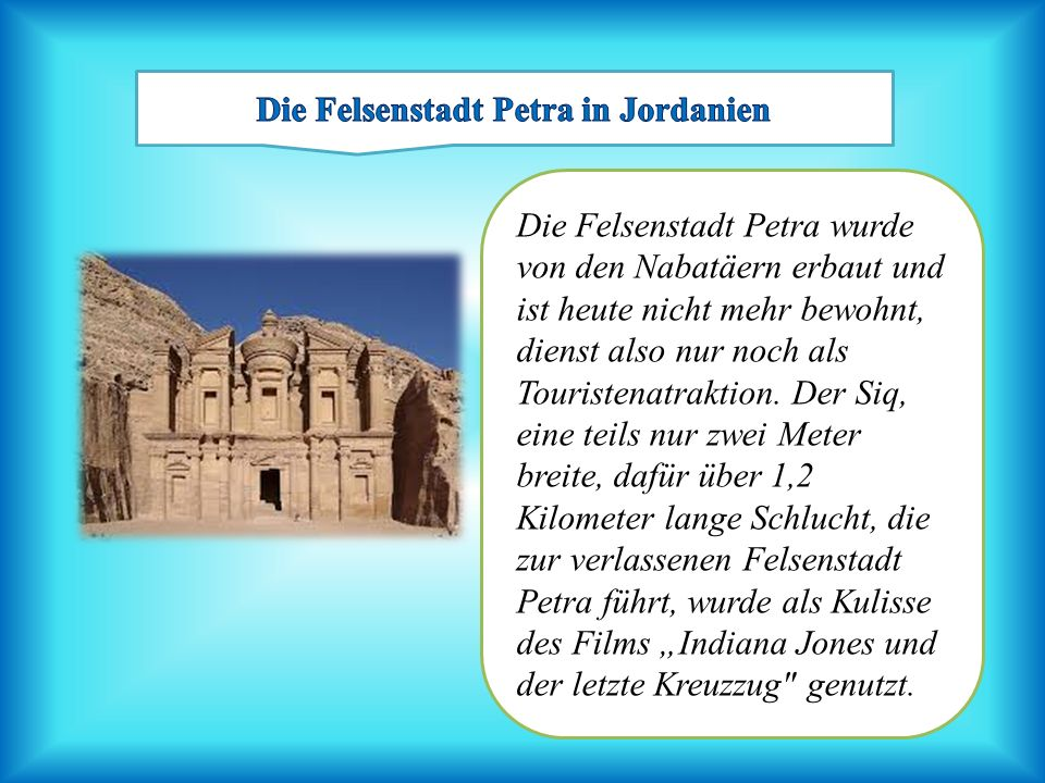 Die Felsenstadt Petra in Jordanien