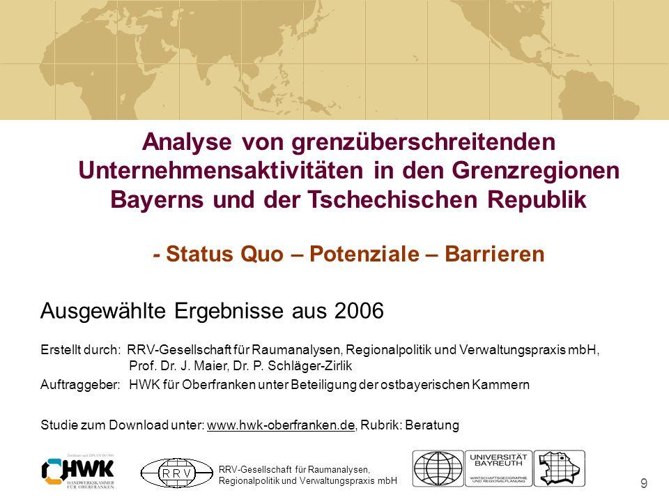 Analyse von grenzüberschreitenden Unternehmensaktivitäten in den Grenzregionen Bayerns und der Tschechischen Republik - Status Quo – Potenziale – Barrieren