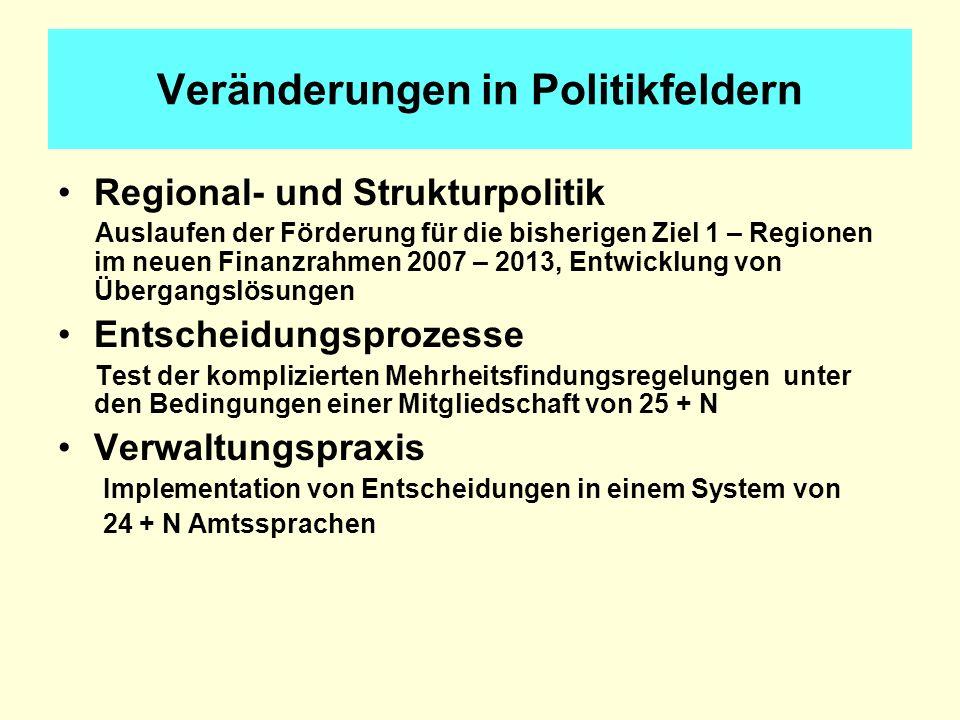 Veränderungen in Politikfeldern