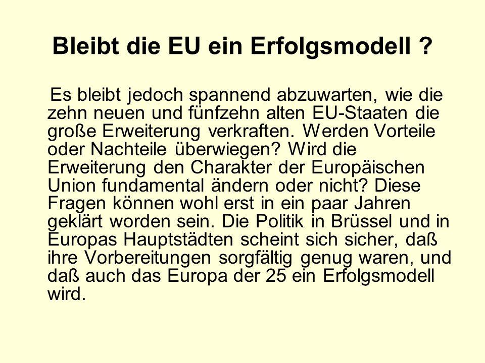 Bleibt die EU ein Erfolgsmodell