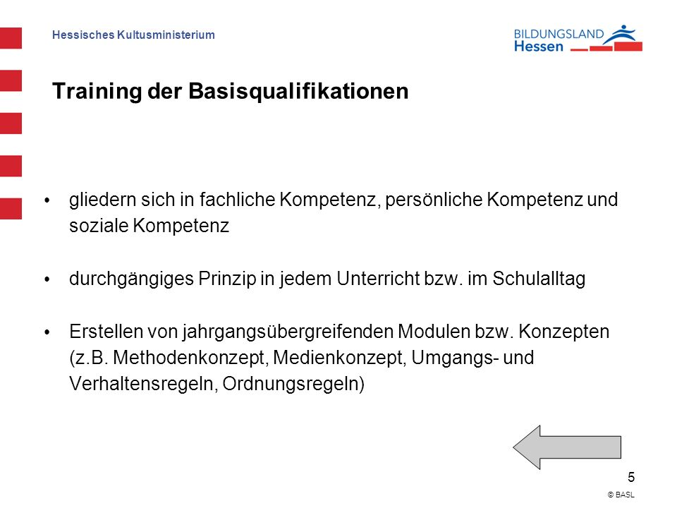 Training der Basisqualifikationen