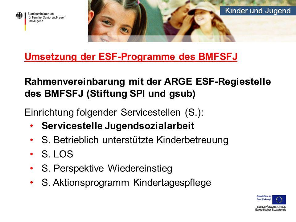 Umsetzung der ESF-Programme des BMFSFJ