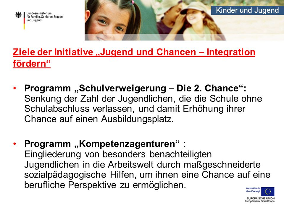 """Ziele der Initiative """"Jugend und Chancen – Integration fördern"""