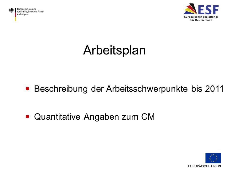 Arbeitsplan Beschreibung der Arbeitsschwerpunkte bis 2011