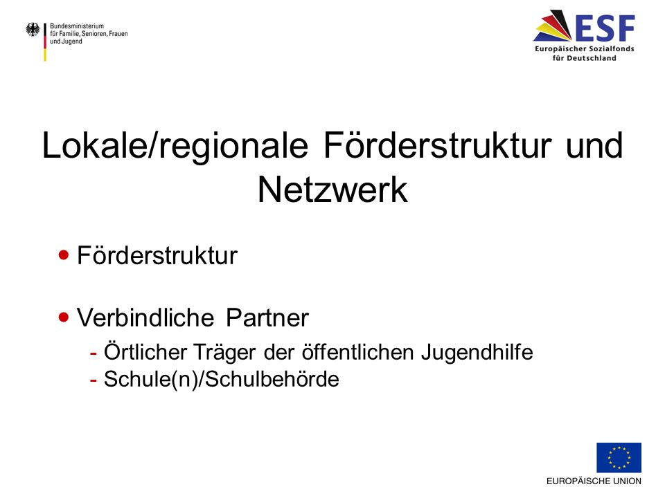 Lokale/regionale Förderstruktur und Netzwerk