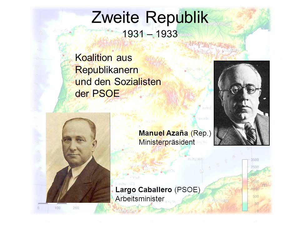 Zweite Republik 1931 – 1933. Koalition aus Republikanern und den Sozialisten der PSOE. Manuel Azaña (Rep.) Ministerpräsident.