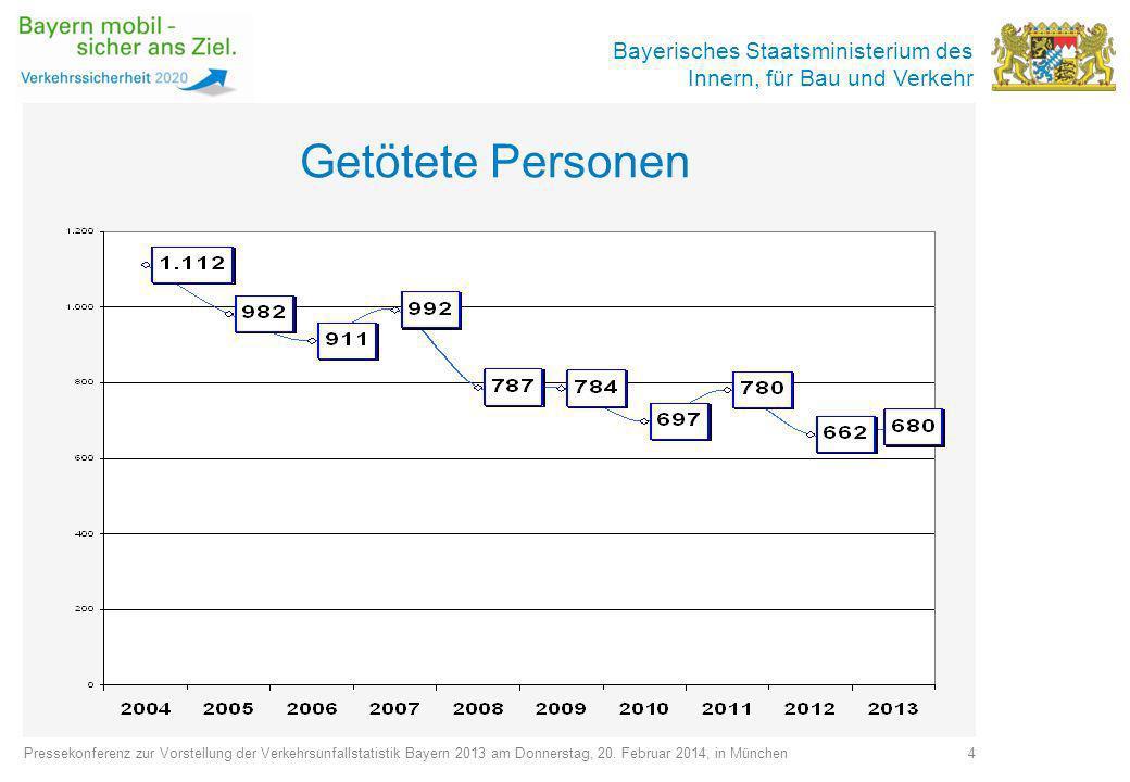 Getötete Personen Pressekonferenz zur Vorstellung der Verkehrsunfallstatistik Bayern 2013 am Donnerstag, 20. Februar 2014, in München.