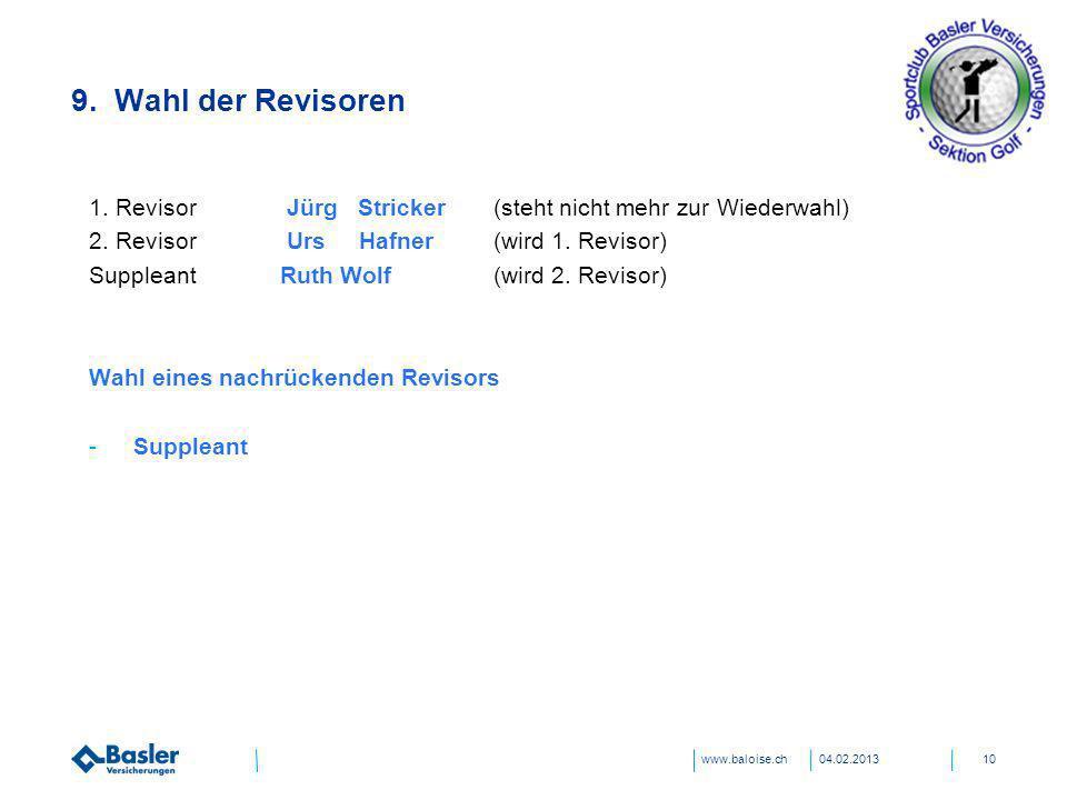 31.03.2017 9. Wahl der Revisoren. 1. Revisor Jürg Stricker (steht nicht mehr zur Wiederwahl) 2. Revisor Urs Hafner (wird 1. Revisor)