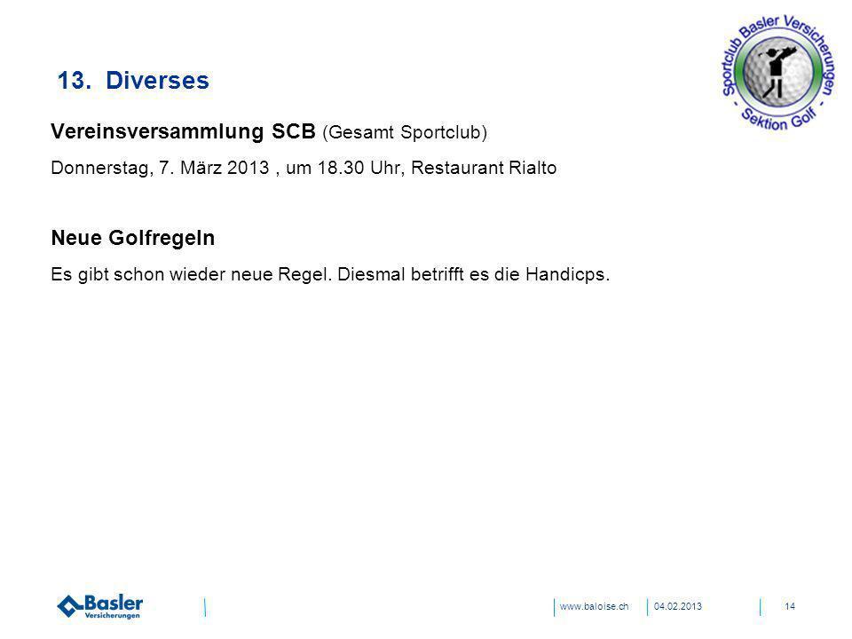 13. Diverses Vereinsversammlung SCB (Gesamt Sportclub) Neue Golfregeln