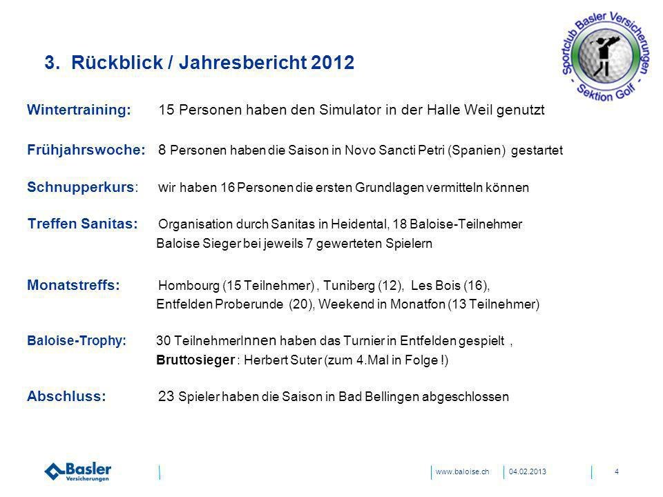3. Rückblick / Jahresbericht 2012