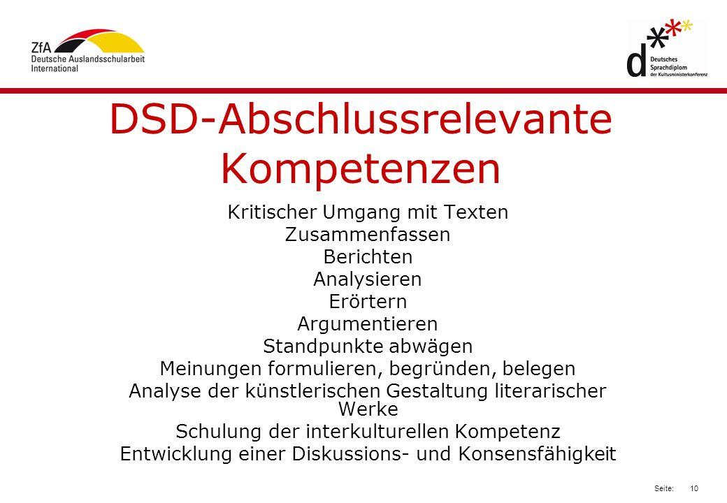 DSD-Abschlussrelevante Kompetenzen