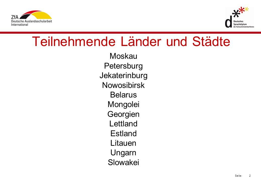 Teilnehmende Länder und Städte