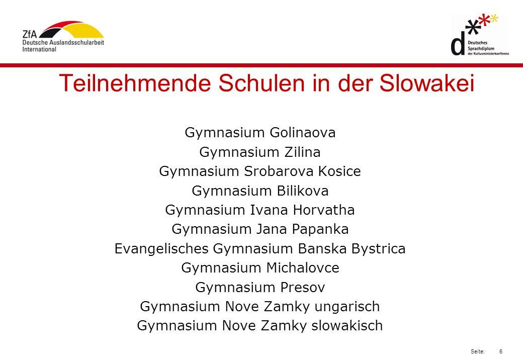Teilnehmende Schulen in der Slowakei